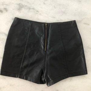 Sparkle & Fade Shorts - Faux leather black high waisted shorts🖤